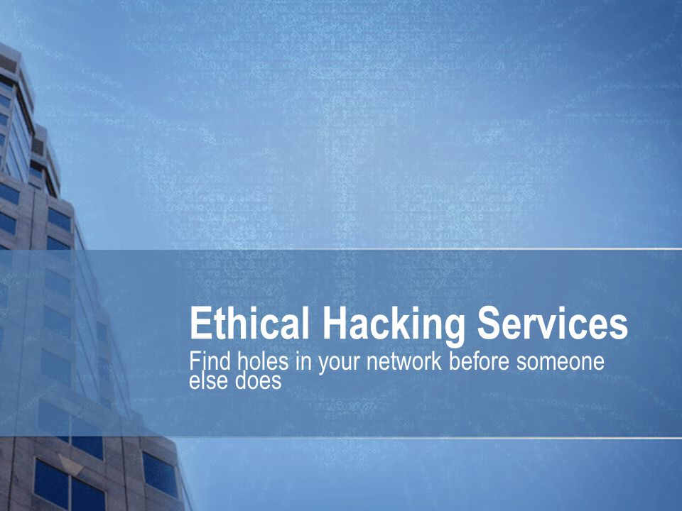 Ethical Hacking Services Find holes in your network before someone else does