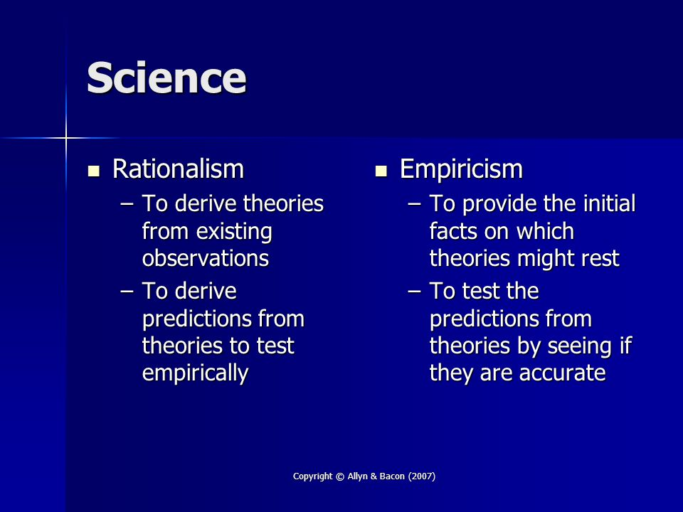 Copyright © Allyn & Bacon (2007) Science Rationalism Rationalism –To derive theories from existing observations –To derive predictions from theories to test empirically Empiricism Empiricism –To provide the initial facts on which theories might rest –To test the predictions from theories by seeing if they are accurate