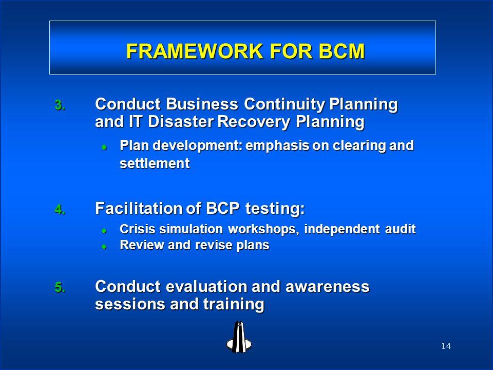 14 FRAMEWORK FOR BCM FRAMEWORK FOR BCM 3.