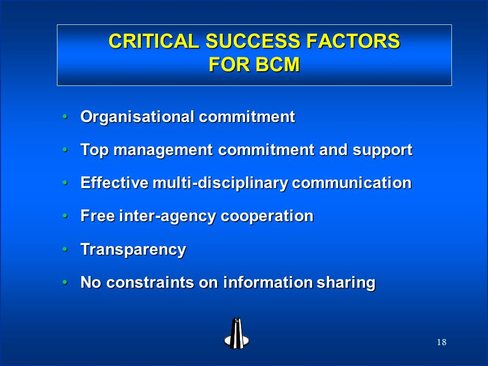 18 CRITICAL SUCCESS FACTORS FOR BCM CRITICAL SUCCESS FACTORS FOR BCM Organisational commitmentOrganisational commitment Top management commitment and supportTop management commitment and support Effective multi-disciplinary communicationEffective multi-disciplinary communication Free inter-agency cooperationFree inter-agency cooperation TransparencyTransparency No constraints on information sharingNo constraints on information sharing