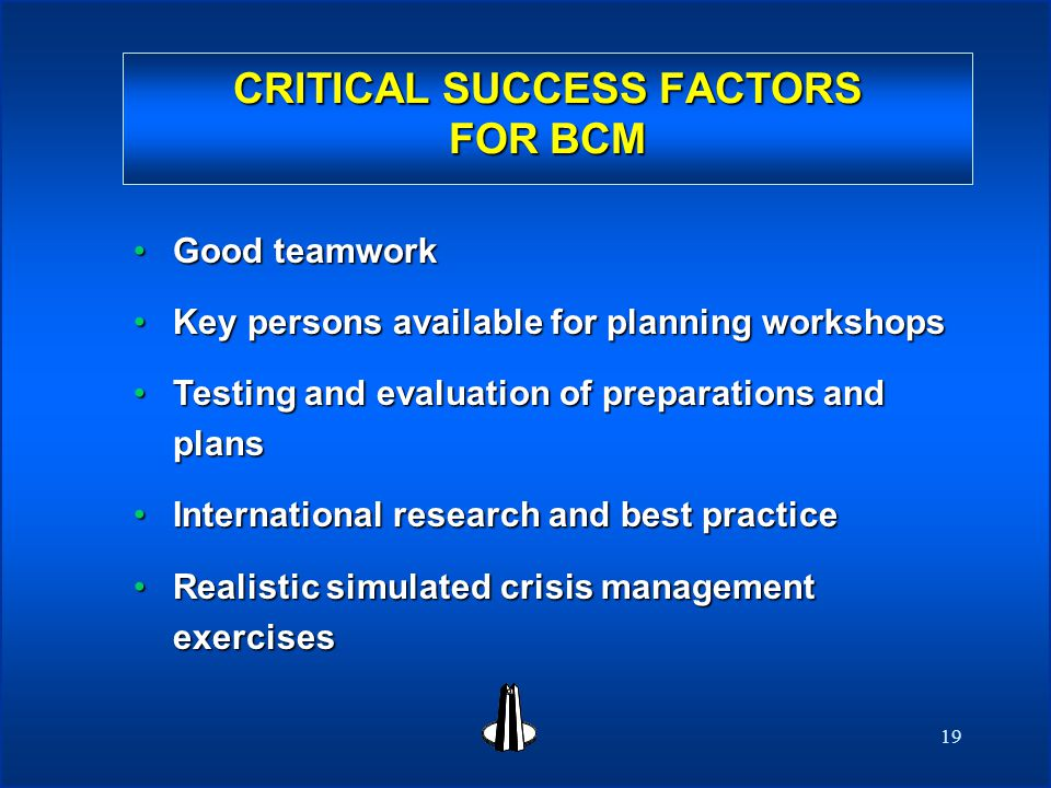 19 CRITICAL SUCCESS FACTORS FOR BCM CRITICAL SUCCESS FACTORS FOR BCM Good teamworkGood teamwork Key persons available for planning workshopsKey persons available for planning workshops Testing and evaluation of preparations and plansTesting and evaluation of preparations and plans International research and best practiceInternational research and best practice Realistic simulated crisis management exercisesRealistic simulated crisis management exercises
