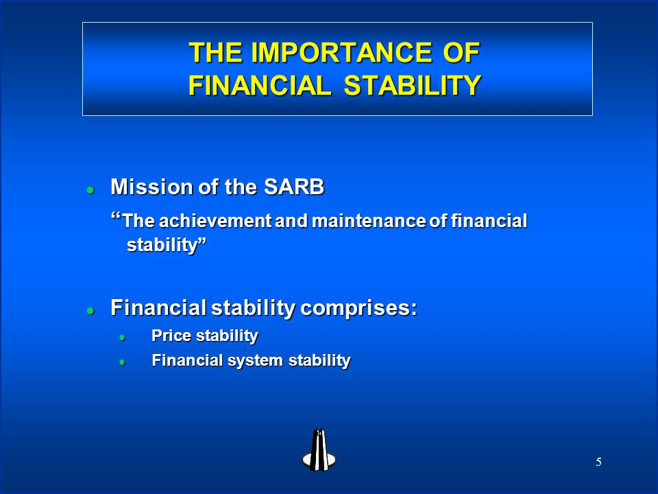 5 THE IMPORTANCE OF FINANCIAL STABILITY l Mission of the SARB The achievement and maintenance of financial stability l Financial stability comprises: l Price stability l Financial system stability