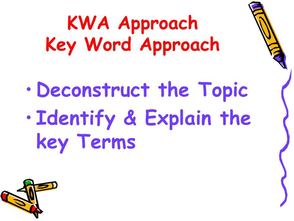 Content Generation - Three Approaches KWA KWA SPELT SPELTVAP