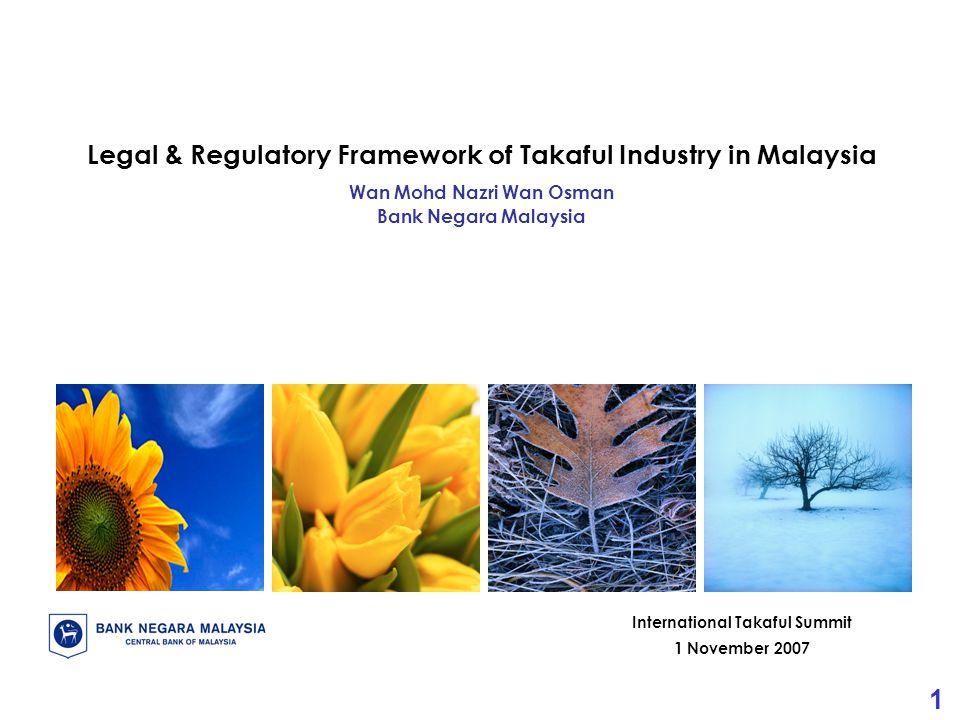 1 International Takaful Summit 1 November 2007 Legal & Regulatory Framework of Takaful Industry in Malaysia Wan Mohd Nazri Wan Osman Bank Negara Malaysia