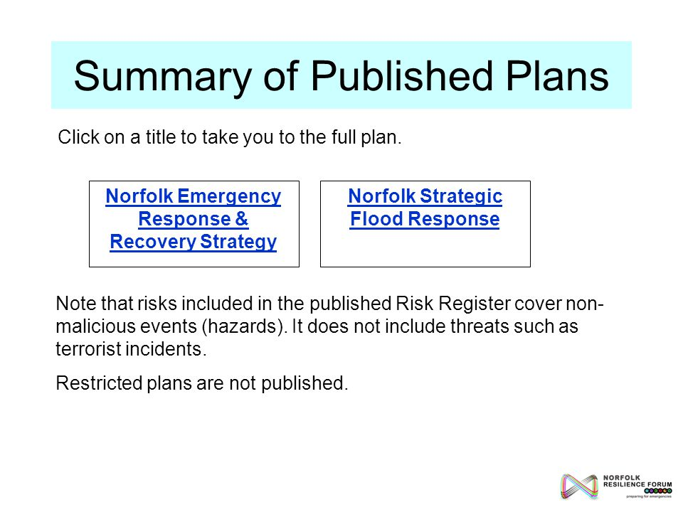 Summary of Published Plans Norfolk Emergency Response & Recovery Strategy Norfolk Strategic Flood Response Note that risks included in the published Risk Register cover non- malicious events (hazards).