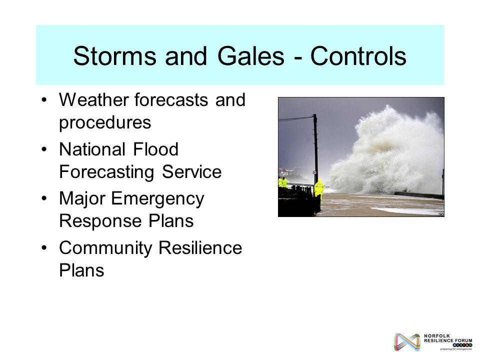 Weather forecasts and procedures National Flood Forecasting Service Major Emergency Response Plans Community Resilience Plans Storms and Gales - Controls