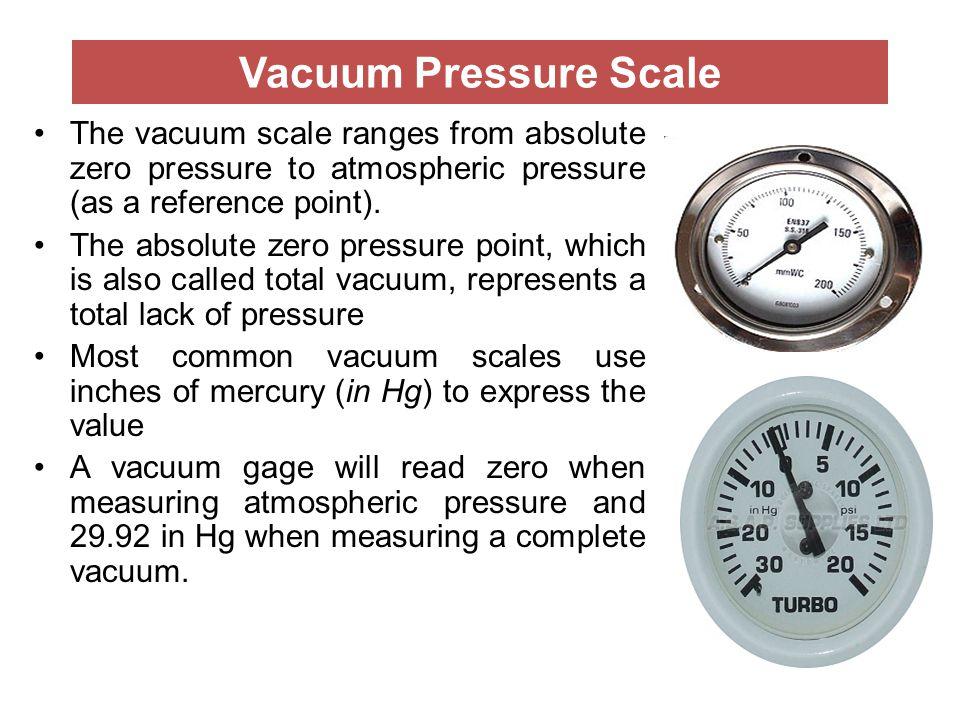 Vacuum Pressure Scale The vacuum scale ranges from absolute zero pressure to atmospheric pressure (as a reference point). The absolute zero pressure p