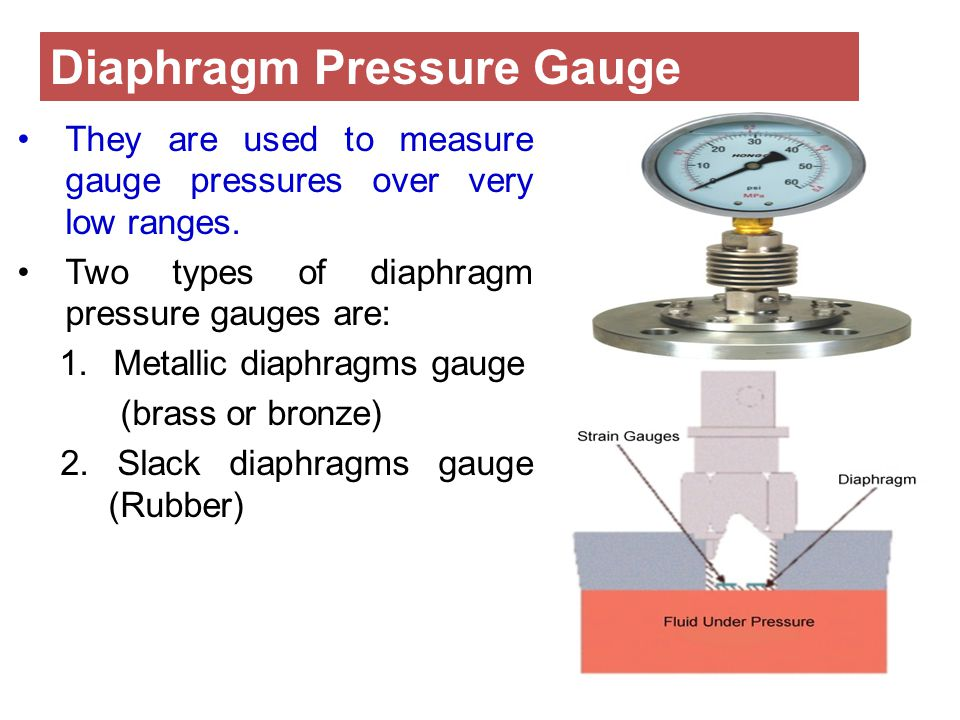 They are used to measure gauge pressures over very low ranges. Two types of diaphragm pressure gauges are: 1.Metallic diaphragms gauge (brass or bronz