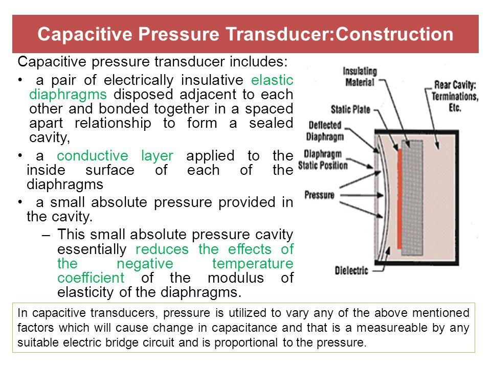 Capacitive Pressure Transducer:Construction Capacitive pressure transducer includes: a pair of electrically insulative elastic diaphragms disposed adj