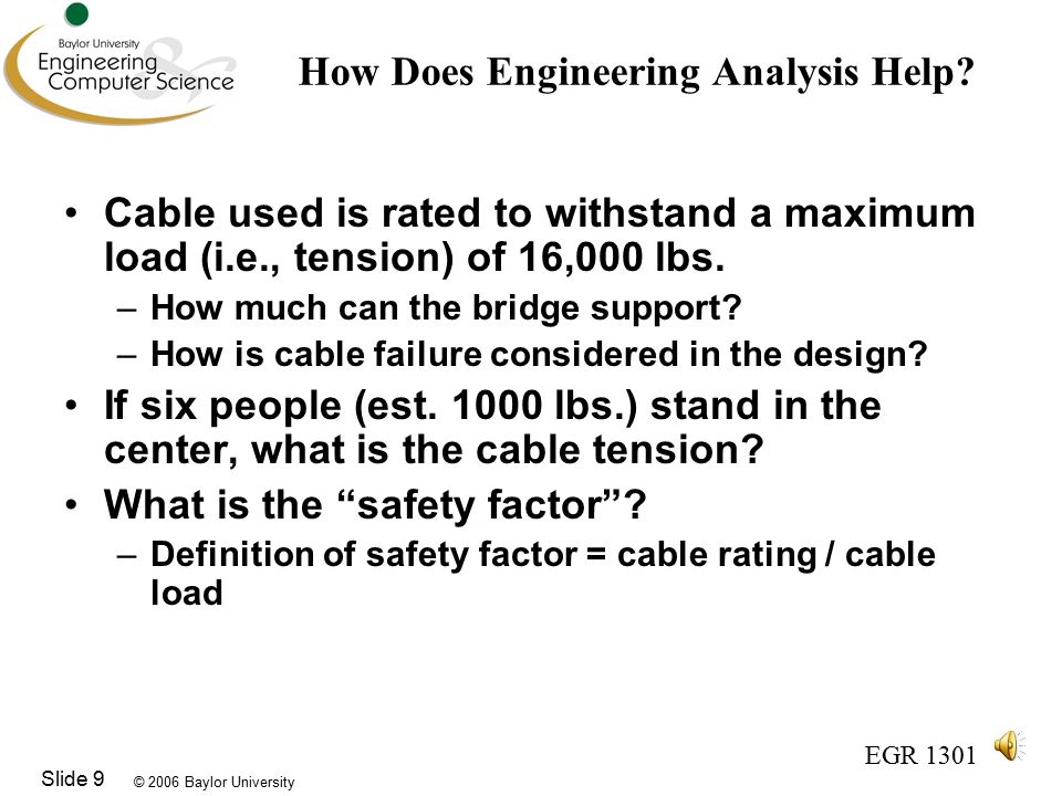 © 2006 Baylor University EGR 1301 Slide 9 How Does Engineering Analysis Help.