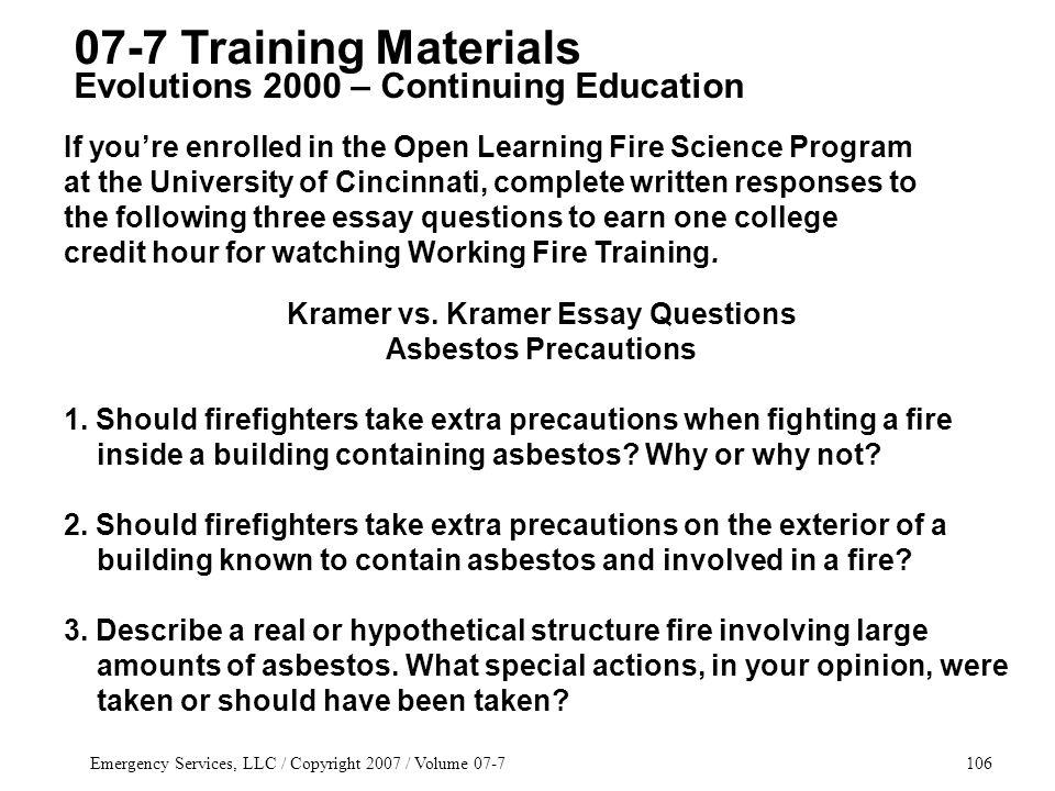 Emergency Services, LLC / Copyright 2007 / Volume 07-7106 Kramer vs.