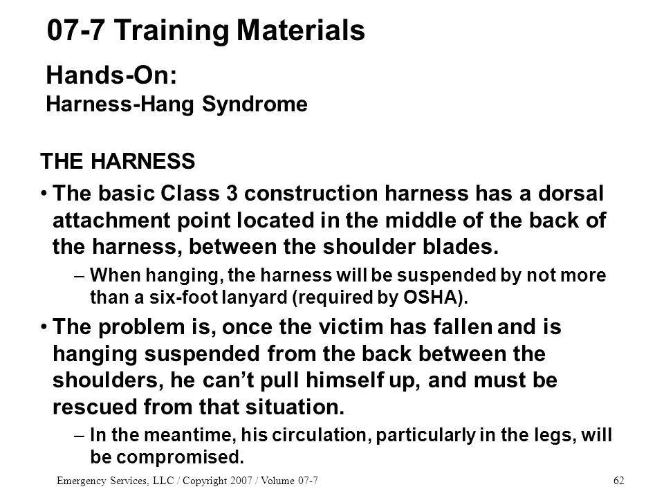 Emergency Services, LLC / Copyright 2007 / Volume 07-762 THE HARNESS The basic Class 3 construction harness has a dorsal attachment point located in the middle of the back of the harness, between the shoulder blades.
