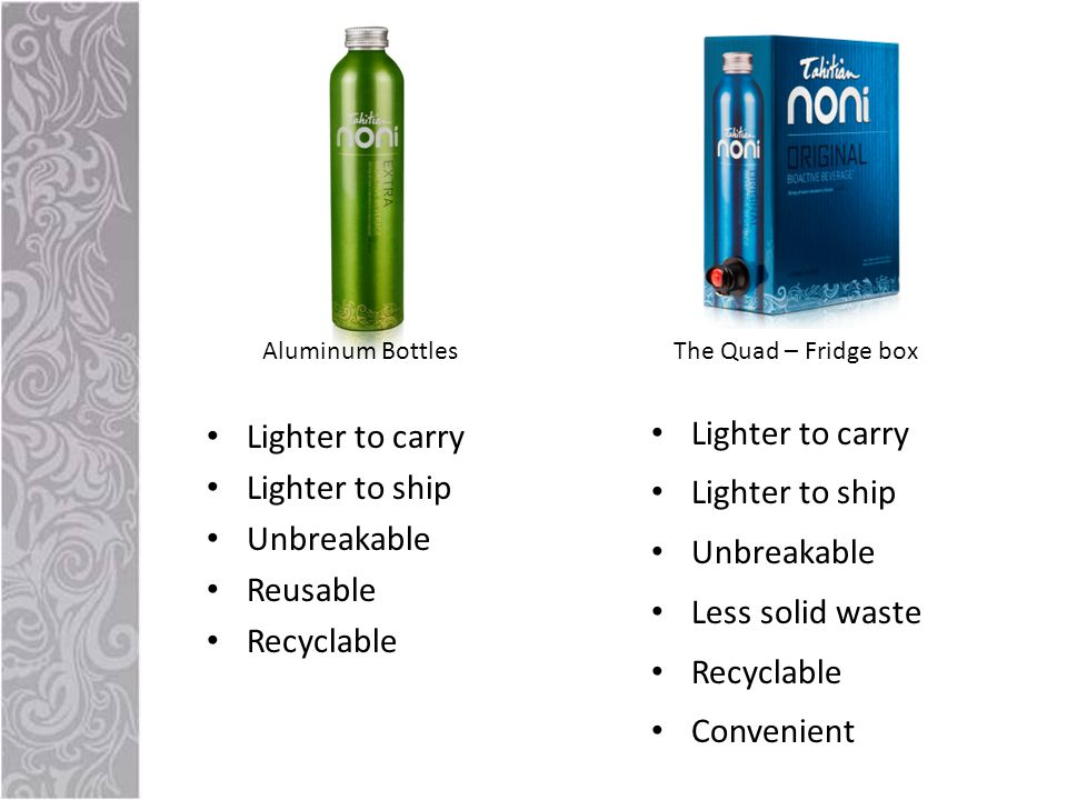 Lighter to carry Lighter to ship Unbreakable Reusable Recyclable Lighter to carry Lighter to ship Unbreakable Less solid waste Recyclable Convenient Aluminum BottlesThe Quad – Fridge box