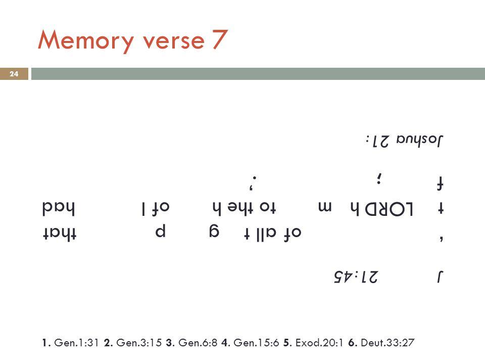 Memory verse 7 24 J 21:45 ' of all t g p that t LORD h m to the h of I had f ;.' Joshua 21: 1.