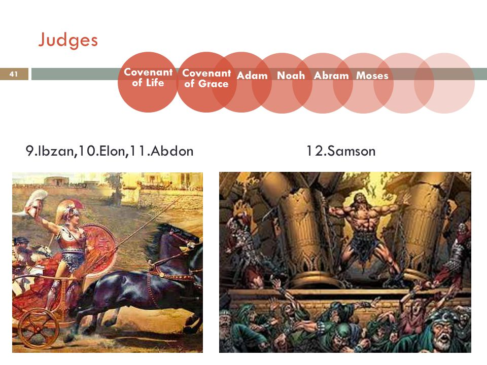 41 Covenant of Life Adam Covenant of Grace NoahAbramMoses 9.Ibzan,10.Elon,11.Abdon12.Samson Judges