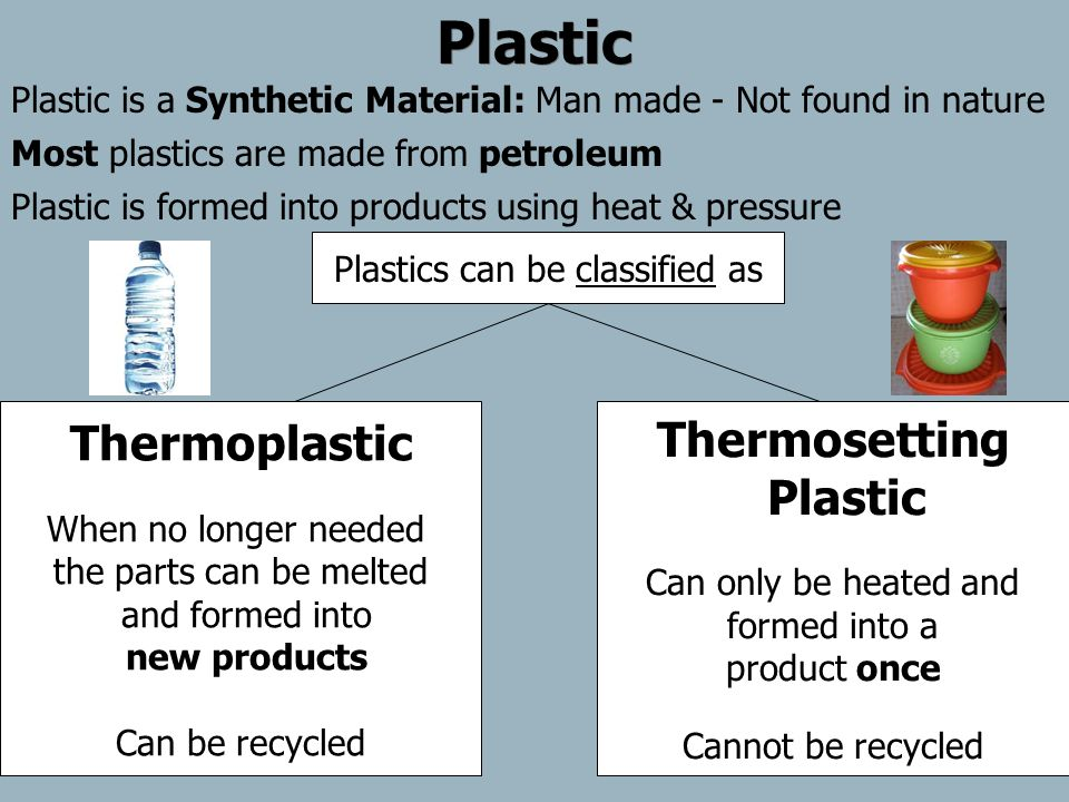 Plastic Plastic is a Synthetic Material: Man made - Not found in nature Plastic is formed into products using heat & pressure Most plastics are made f