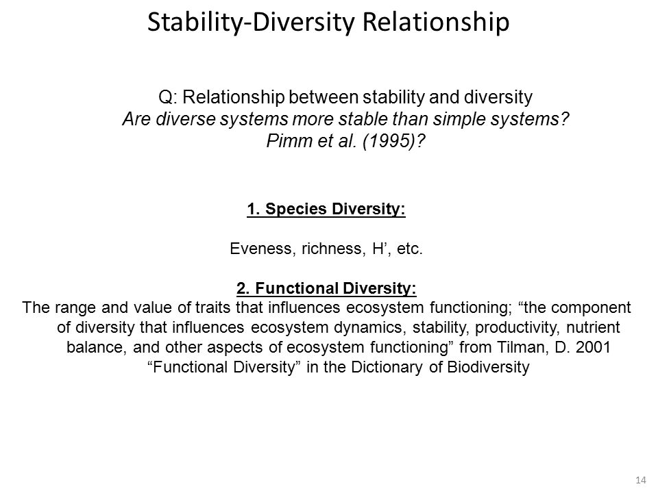 14 Q: Relationship between stability and diversity Are diverse systems more stable than simple systems.