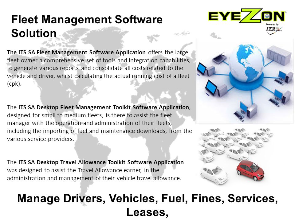 The ITS SA Fleet Management Software Application offers the large fleet owner a comprehensive set of tools and integration capabilities, to generate various reports and consolidate all costs related to the vehicle and driver, whilst calculating the actual running cost of a fleet (cpk).