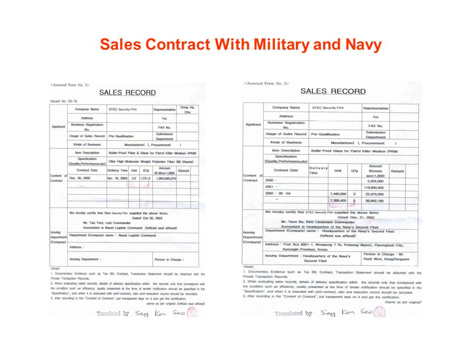 Sales Contract With Military and Navy