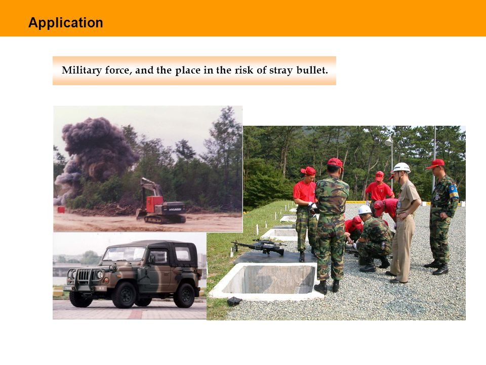 Military force, and the place in the risk of stray bullet. Application