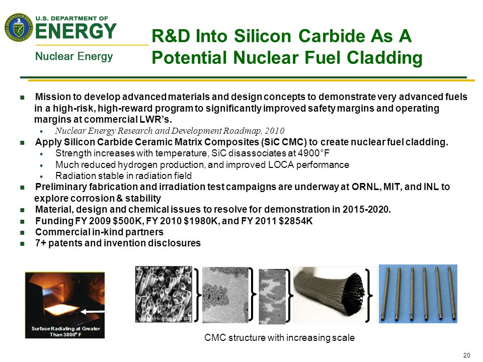 20 R&D Into Silicon Carbide As A Potential Nuclear Fuel Cladding Mission to develop advanced materials and design concepts to demonstrate very advance