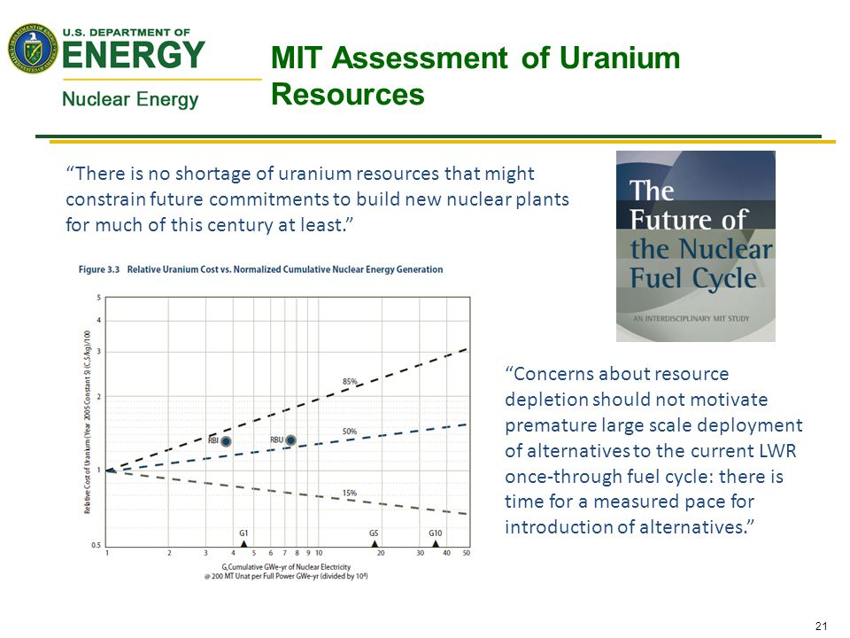 """21 """"There is no shortage of uranium resources that might constrain future commitments to build new nuclear plants for much of this century at least."""""""