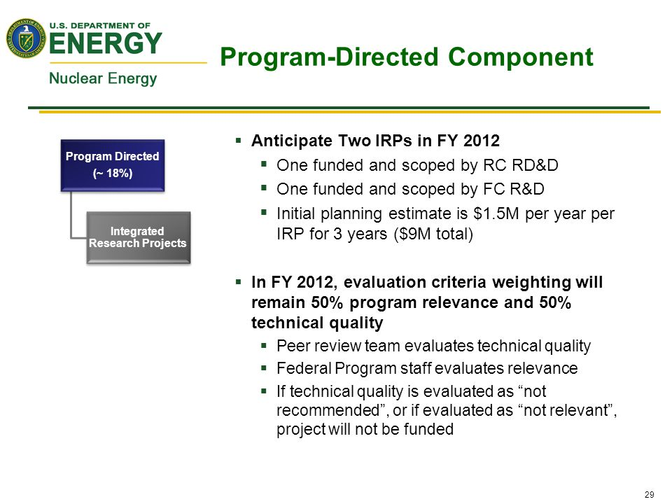 29  Anticipate Two IRPs in FY 2012  One funded and scoped by RC RD&D  One funded and scoped by FC R&D  Initial planning estimate is $1.5M per year