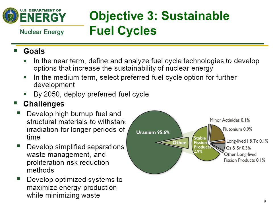 8  Goals  In the near term, define and analyze fuel cycle technologies to develop options that increase the sustainability of nuclear energy  In th