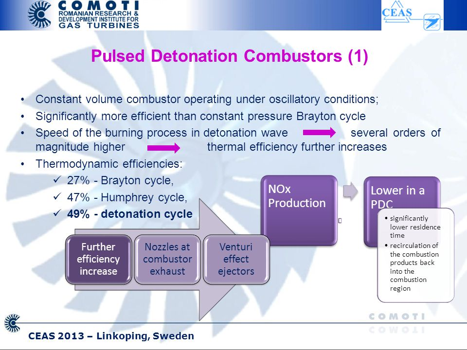 CEAS 2013 – Linkoping, Sweden Pulsed Detonation Combustors (1) Constant volume combustor operating under oscillatory conditions; Significantly more efficient than constant pressure Brayton cycle Speed of the burning process in detonation wave several orders of magnitude higherthermal efficiency further increases Thermodynamic efficiencies: 27% - Brayton cycle, 47% - Humphrey cycle, 49% - detonation cycle NOx Production Lower in a PDC significantly lower residence time recirculation of the combustion products back into the combustion region Further efficiency increase Nozzles at combustor exhaust Venturi effect ejectors