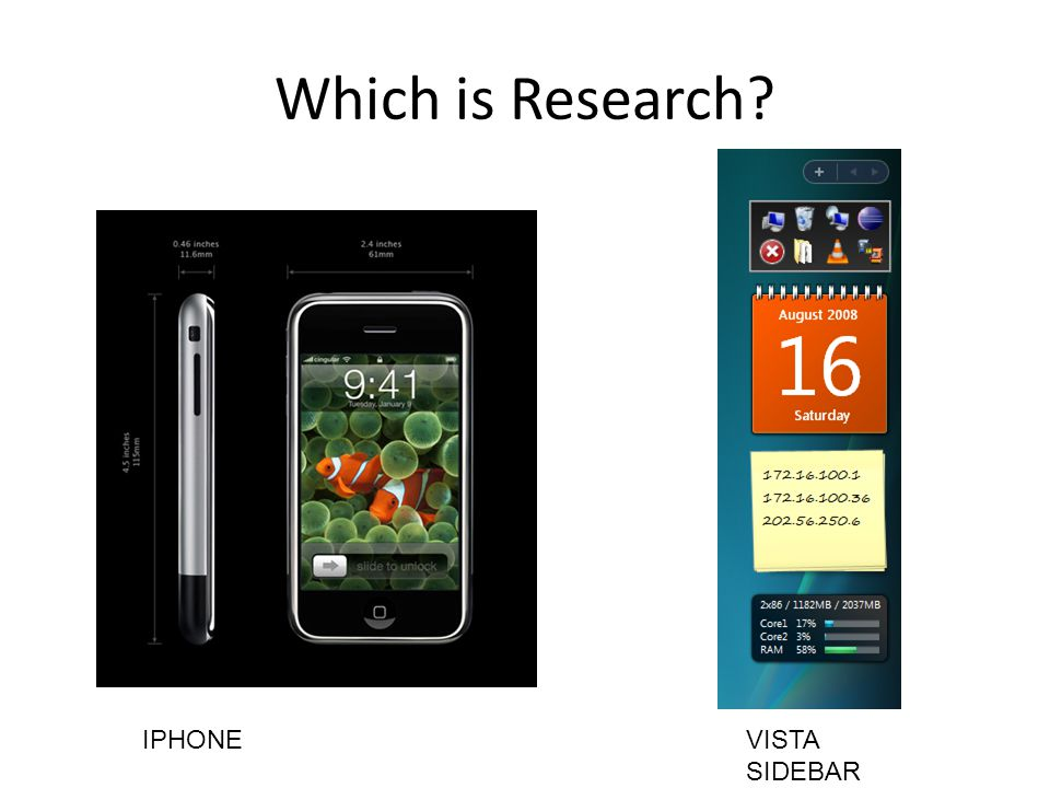 Which is Research IPHONEVISTA SIDEBAR