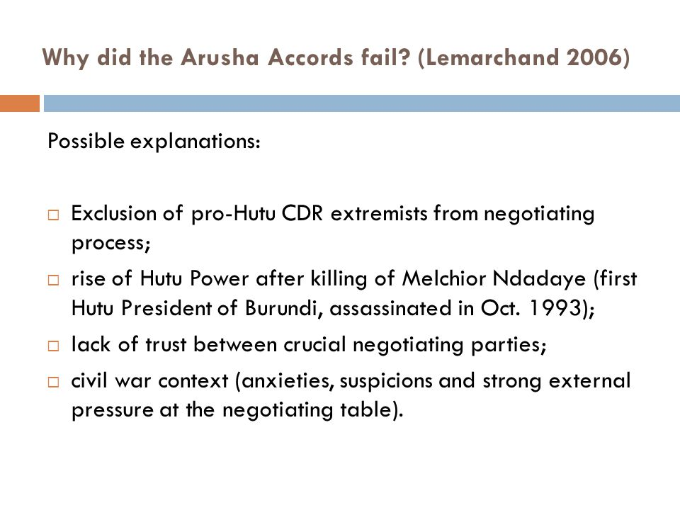 Why did the Arusha Accords fail.