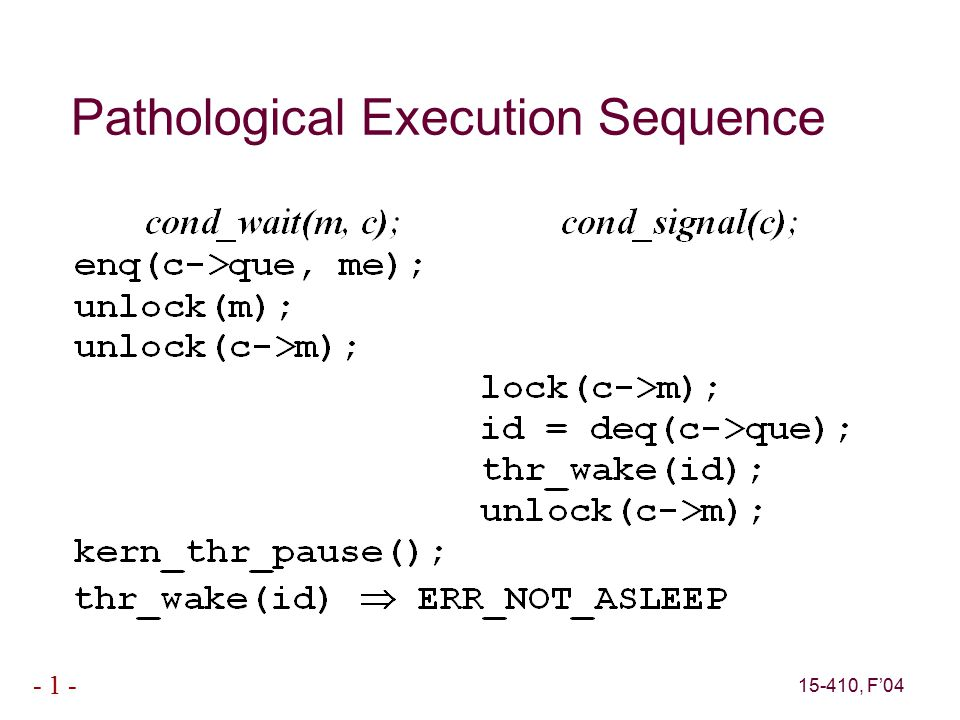 15-410, F'04 - 1 - Pathological Execution Sequence