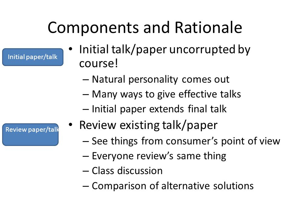 Components and Rationale Initial talk/paper uncorrupted by course.