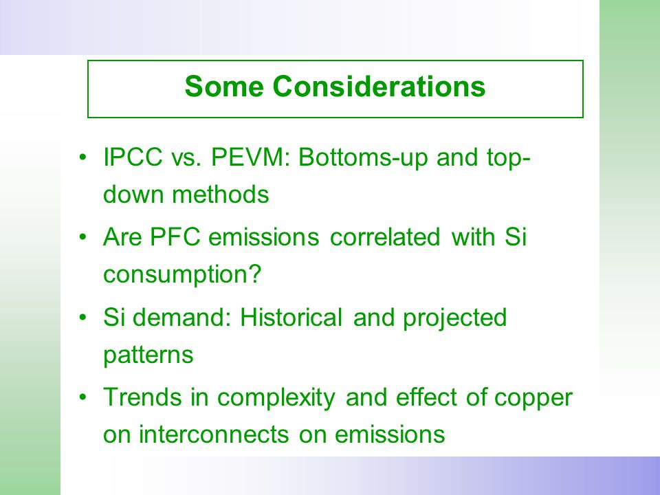 Some Considerations IPCC vs.
