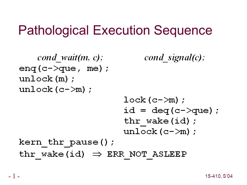 15-410, S'04 - 1 - Pathological Execution Sequence