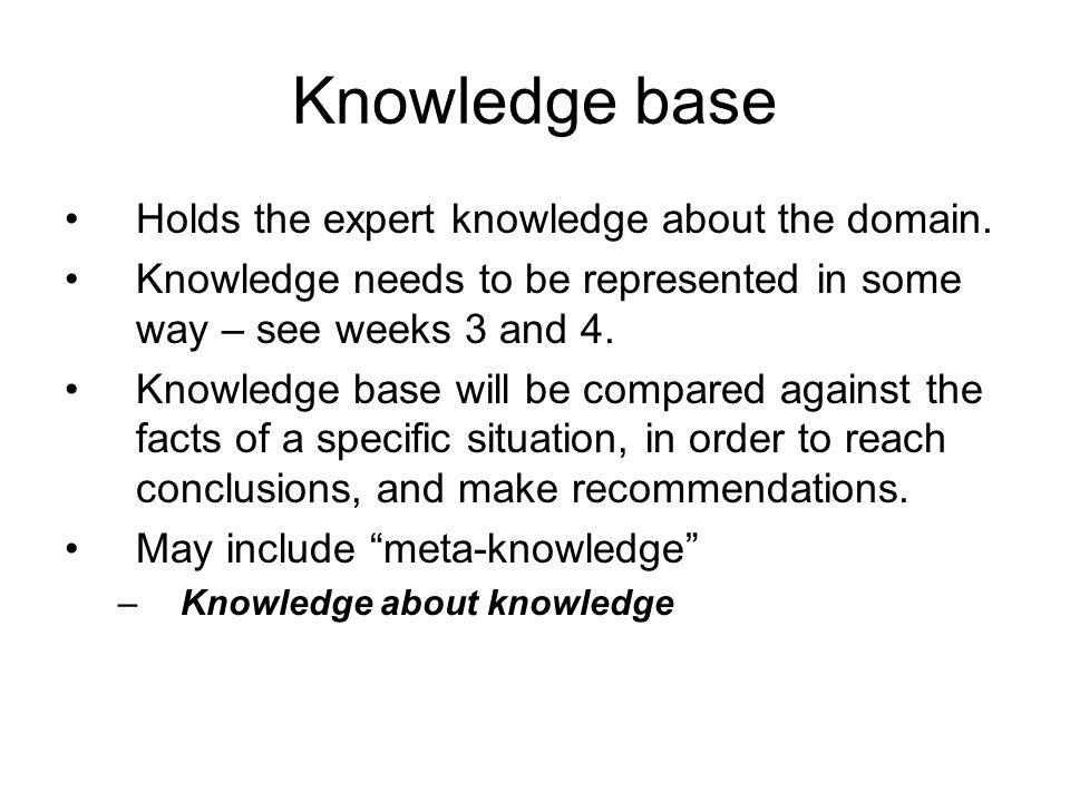Knowledge base Holds the expert knowledge about the domain.