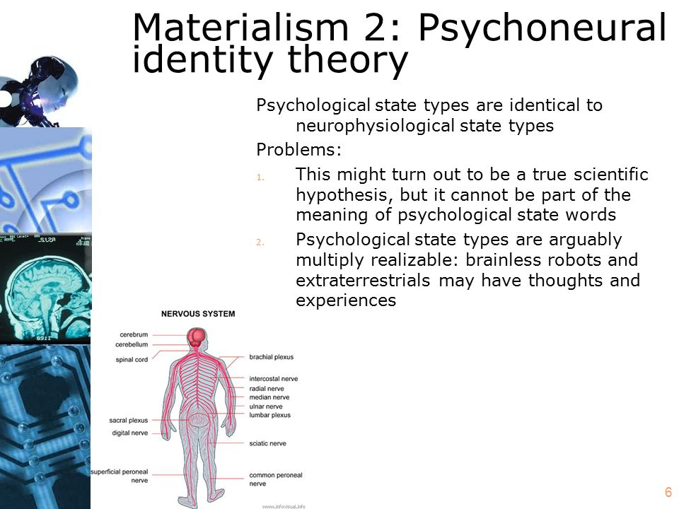 6 Materialism 2: Psychoneural identity theory Psychological state types are identical to neurophysiological state types Problems: 1. This might turn o
