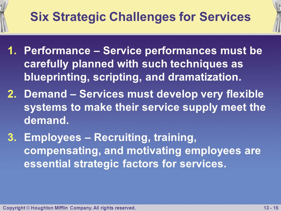 Copyright © Houghton Mifflin Company. All rights reserved.13 - 15 Six Strategic Challenges for Services 1.Performance – Service performances must be c