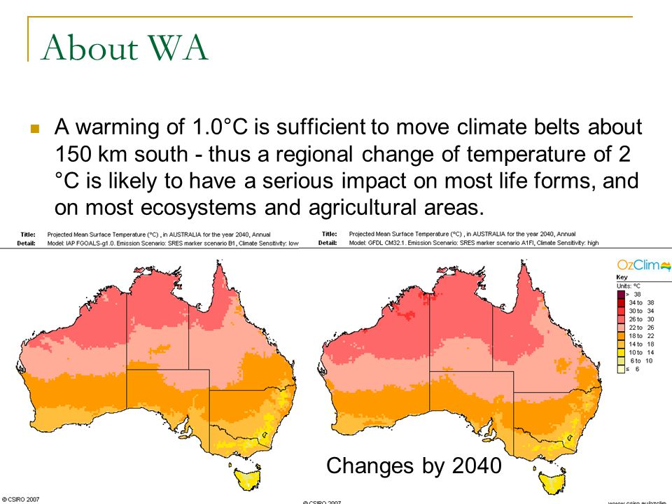 About WA A warming of 1.0°C is sufficient to move climate belts about 150 km south - thus a regional change of temperature of 2 °C is likely to have a