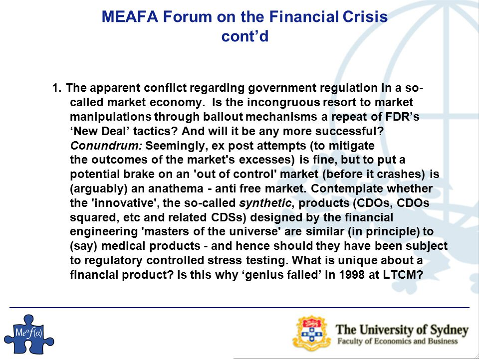 MEAFA Forum on the Financial Crisis cont'd  2.Conundrum: The corporation good guy - bad guy.