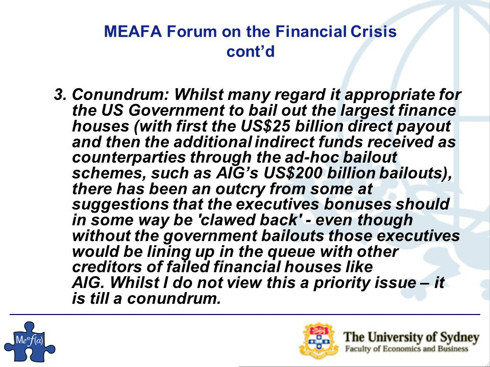 MEAFA Forum on the Financial Crisis cont'd 3.