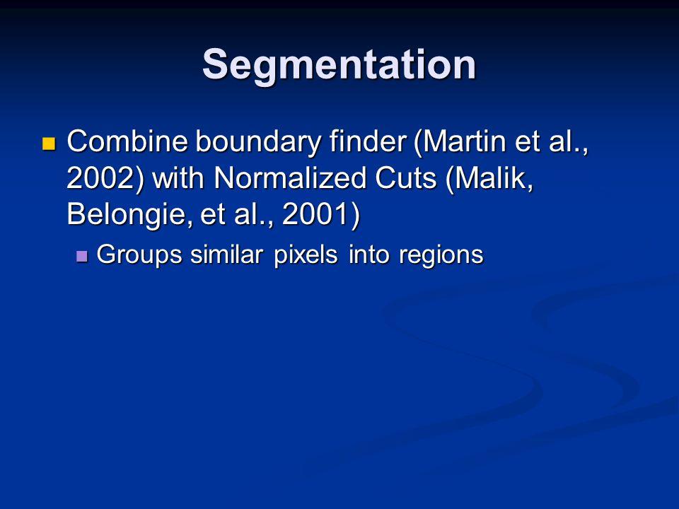 Segmentation Combine boundary finder (Martin et al., 2002) with Normalized Cuts (Malik, Belongie, et al., 2001) Combine boundary finder (Martin et al., 2002) with Normalized Cuts (Malik, Belongie, et al., 2001) Groups similar pixels into regions Groups similar pixels into regions