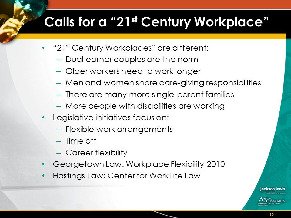 21 st Century Workplaces are different: – Dual earner couples are the norm – Older workers need to work longer – Men and women share care-giving responsibilities – There are many more single-parent families – More people with disabilities are working Legislative initiatives focus on: – Flexible work arrangements – Time off – Career flexibility Georgetown Law: Workplace Flexibility 2010 Hastings Law: Center for WorkLife Law 15 Calls for a 21 st Century Workplace