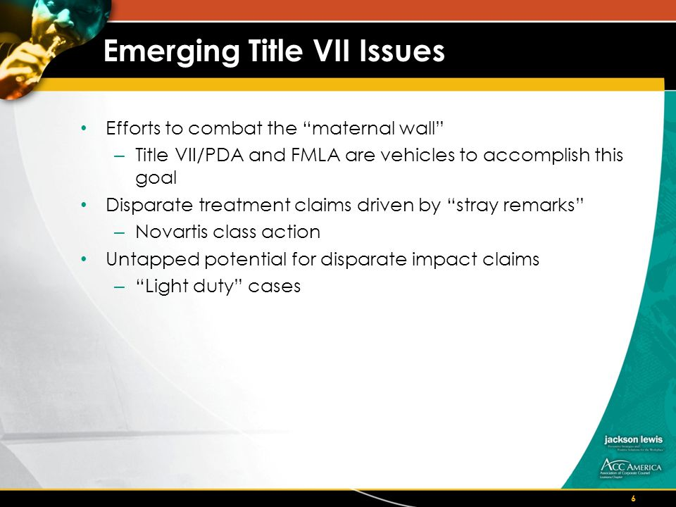 EEOC Guidance on Disparate Treatment Against Caregivers Using Title VI, PDA, ADA, FMLA, and state common law to achieve workplace flexibility Highlights emerging theories of legal liability: – Gender stereotyping – Benign discrimination – Association discrimination – Unconscious bias Cognitive science recommends training in: – group think – Motivational control 17