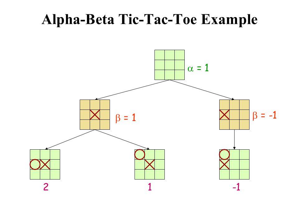 Alpha-Beta Tic-Tac-Toe Example  = 1 1  = 1 2  = -1