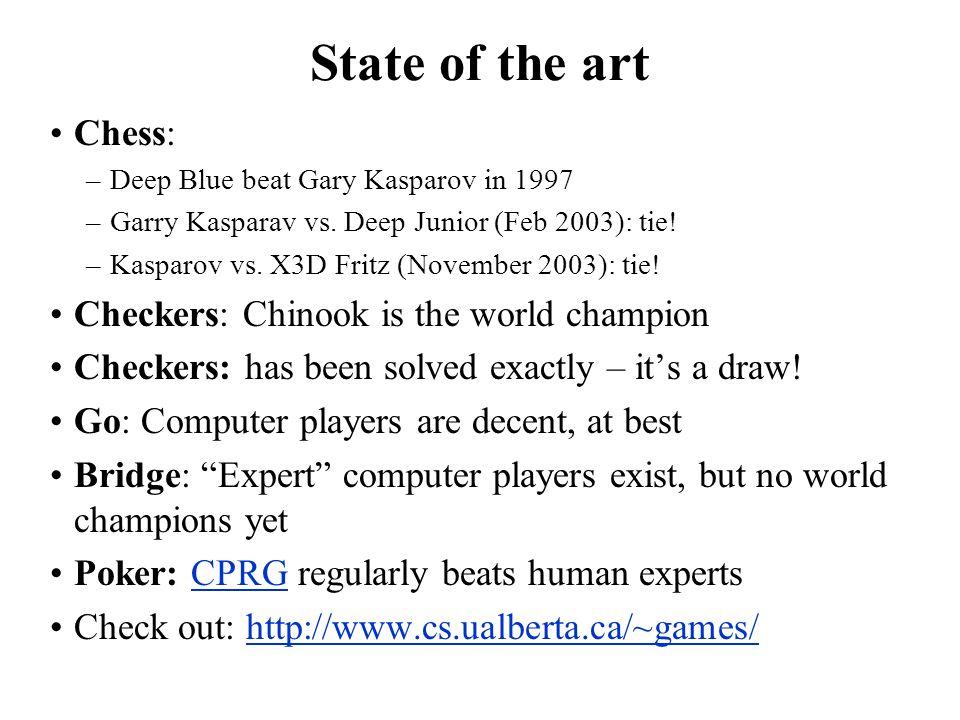 State of the art Chess: –Deep Blue beat Gary Kasparov in 1997 –Garry Kasparav vs. Deep Junior (Feb 2003): tie! –Kasparov vs. X3D Fritz (November 2003)