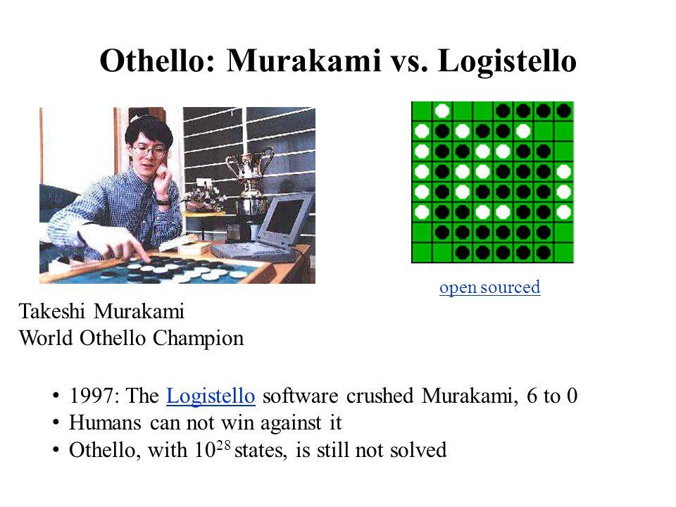 Othello: Murakami vs. Logistello Takeshi Murakami World Othello Champion 1997: The Logistello software crushed Murakami, 6 to 0Logistello Humans can n