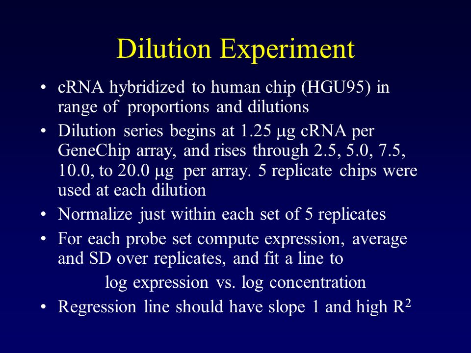 Dilution Experiment cRNA hybridized to human chip (HGU95) in range of proportions and dilutions Dilution series begins at 1.25  g cRNA per GeneChip array, and rises through 2.5, 5.0, 7.5, 10.0, to 20.0  g per array.