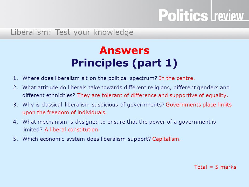 Liberalism: Test your knowledge Answers Principles (part 1) 1.Where does liberalism sit on the political spectrum.