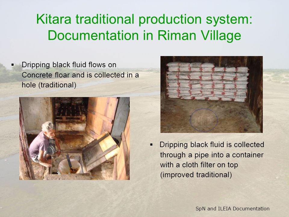 SpN and ILEIA Documentation Kitara traditional production system: Documentation in Riman Village  Dripping black fluid flows on Concrete floar and is